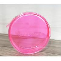 Buy cheap Pink Round Transparent Cosmetic Bag Circular Clear Travel Makeup Pouch Organizer with Zipper from wholesalers