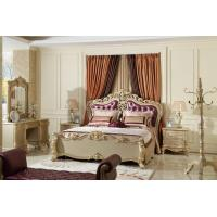 Buy cheap Luxury Classic Bedroom Furniture Bed sets Golden painting Wood and high end of fabric Headboard factory direct Price from wholesalers