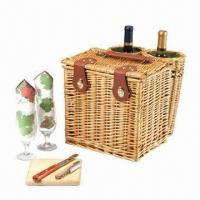 Buy cheap Natural willow wicker sturdy picnic wine and cheese baskets for 2, eco-friendly, PB1037-RE  from wholesalers