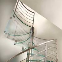 Buy cheap Interior Modern design glass spiral staircase with stainless steel staircase from wholesalers