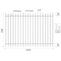 Buy cheap 45 degree mitred picket upright 19mmx19mm 2100mm x 2450mm rails SHS40mm Garrison Fencing from wholesalers