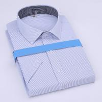 Buy cheap Summer Blue Striped Custom Business Shirts Short Sleeved Shirt For Male / Female from wholesalers