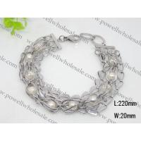 Buy cheap Stainless Steel Pearlized Charm Cuff Bracelets 1430026 from wholesalers