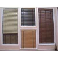 Buy cheap 35mm 100% basswood venetian blinds for windows with steel headrail and wooden bottomrail from wholesalers