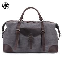 Buy cheap Online shopping handmade leather bags China supplier men's travel bag high quality leather canvas duffel bag from wholesalers