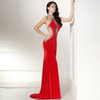 Buy cheap Red Color Short Sleeve High End Velvet Prom Dress Evening Gowns Long Style from wholesalers