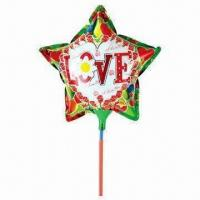 China 9-inch Love Topic Star-shaped Balloon Toy with Cup Stick, Made of Nylon Aluminum and PE on sale