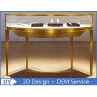 Buy cheap Curve Shape Stainless Steel Jewelry Counter With Glass Light For Shopping Mall from wholesalers