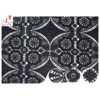 Buy cheap 47 Inch Black Embroidered Lace Fabric For Dressmaking / Floral Embroidered Trim product