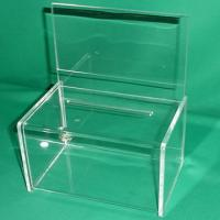 Buy cheap Green 3mm Clear Acrylic Storage Boxes Locking for Vote , Coin , Donation product