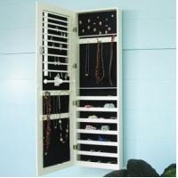 Buy cheap white wall mounted mirrored jewelry cabinet product