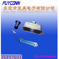 China 14 24 36 50 Pin Solder Female Receptacle Type Centronix Connector with 180 degree Metal Cover on sale