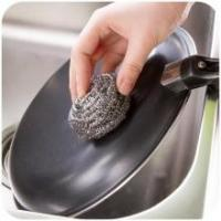 Antibacterial Stainless Steel Scouring Pad , Oil Removing Metal Dish Scrubber