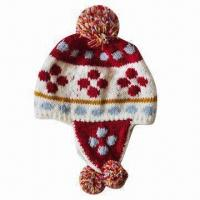 Buy cheap Knitted Hat with Earflap, Jacquard Pattern, Pompom and Polar Fleece Inside Lining from wholesalers