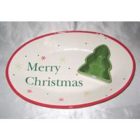 Buy cheap Hand Painted Ceramic Serving Platter Christmas Chip And Dip Set With Spot Decaled from wholesalers