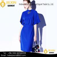 Buy cheap Fashion Different Designs Long Sleeve Nylon Plain Navy Blue Tunic Casual Dresses from wholesalers