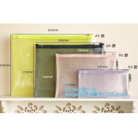 Buy cheap Mesh PVC Document File Bags With Zipper Closure A4 A5 A6 Size File Packing Bags, A5 B5 zipper mesh file bags, slider zip from wholesalers