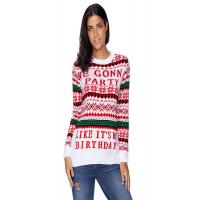Buy cheap Ugly Christmas Fine Knit Jumper Womens , Long Sleeve Pullover Sweater In Stock from wholesalers
