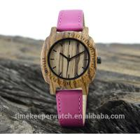 Buy cheap leisure time wood watches ,can make in water proof ,genuine leather watch strap , from wholesalers