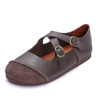 Buy cheap S059 Factory retro contrast stitching leather women's shoes original handmade belt buckle shallow shoes from wholesalers