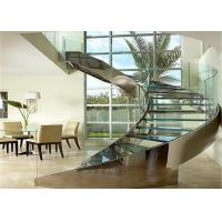 Buy cheap Round Curved Glass Staircase Stainless Steel Building Stairs Easy Assemblying from wholesalers