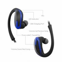 Buy cheap blue Sweat proof HD Stereo Earphones Durable Cordless Headset   with Noise Cancelling Mic and 10 Hours Battery from wholesalers