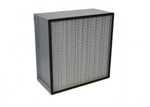 Buy cheap Fiberglass H13 Deep Pleat Cleanroom HEPA Filters / HEPA Air Filter With Separator product