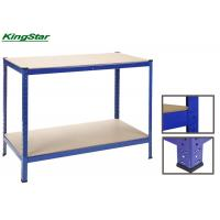Buy cheap Steel Frame Boltless Garage Steel Workbench With Wooden Work Top , 2 Layers from wholesalers