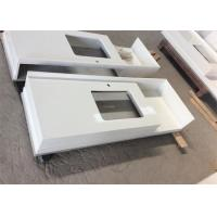 Buy cheap Mitered Edge Quartz Kitchen Worktops Bathroom Vanity Tops Super White Solid Surface from wholesalers