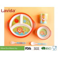 Buy cheap 3-section Round Shape Dishwasher Safe Bamboo Childrens Dinner Set , Reusable Melamine Dinnerware Sets from wholesalers