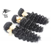 Buy cheap Deep Wave Peruvian Human Hair Extensions 8A Grade Black Color No Chemical from wholesalers