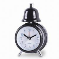 China Single Bell Alarm Clock with Metal Painted Case, Operated by One AA Battery on sale