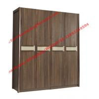 Buy cheap Walnut color Wardrobe armoires in four open doors and shelves for residence home Whole project furniture from wholesalers