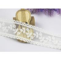 Buy cheap Scalloped Floral Embroidery Cotton Nylon Lace Trim For Ivory Lace Wedding Dress from wholesalers