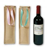 Buy cheap Small Home Decor Textiles , Jute Wine Bags With PP Webbing Handle from wholesalers