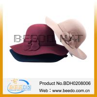 Buy cheap Fashion women 100% wool felt round crown floppy hat with 10 cm wide brim from wholesalers