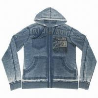 Buy cheap Men's Fashionable Fleece Casual Jacket, Sweatshirts with Hoodies, Printed and Applique Embroidery from wholesalers