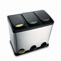 Buy cheap Trash Can, 18/0 Stainless Steel Three Compartment Recycling Bin with PP Cover from wholesalers