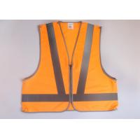 Buy cheap Orange hi vis clothing Reflective safety vest with zipper front + 5 point break with snaps fasten product
