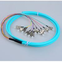 Buy cheap Fanout FC/UPC OM3 50/125 12 cores fiber optic pigtail,bundle type,12 colors inner cable,Aqua color LSZH cable from wholesalers