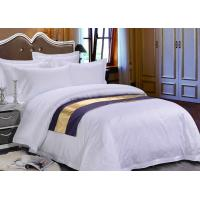 Buy cheap Pure White Sateen Otel Duvet Bedding With Purple Bed Runner from wholesalers