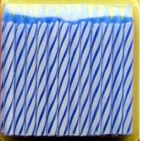 Buy cheap Blue and White Striped Birthday Cake Candle , Kids Funny Birthday Candles Eco Friendly from wholesalers