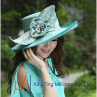 Buy cheap Ladies Green Square Big Brim Satin Ribbon Ladies Dress Church Hats With Flowers / Brooch from wholesalers
