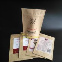 Buy cheap Leaf Logo Printed Tea Bags Packaging Brown Kraft Paper Zipper Pouch With Clear Window from wholesalers