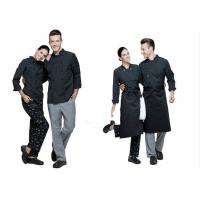 Buy cheap Print Logo Black Chef Uniform Full Length Vertical Pattern Design With Double Breasted Stripe from wholesalers