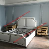 Buy cheap White fabric bed with copper nail decoration and slat wood support in black metal rack for spring mattress from wholesalers