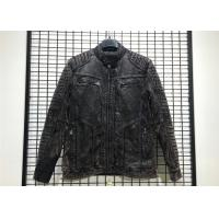 Buy cheap Garment Dyed Mens Black Quilted Jacket , Mottle Wash Pleather Jacket Mens from wholesalers