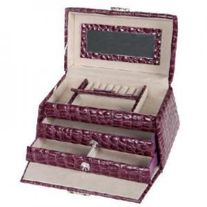 Buy cheap trapezoidal senior PU 3 layer large-capacity jewelry storage box purple product