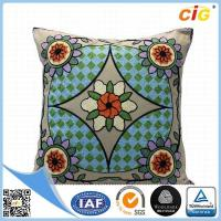 Buy cheap Polyester Or Cotton Embroidered Decorative Throw Pillows for Bed Red Grey Blue Green from wholesalers