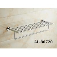 Buy cheap Brass Sanitary Pretty Bathroom Accessories , Elegant Bathroom Sets Glass Shelf Towel Rack from wholesalers